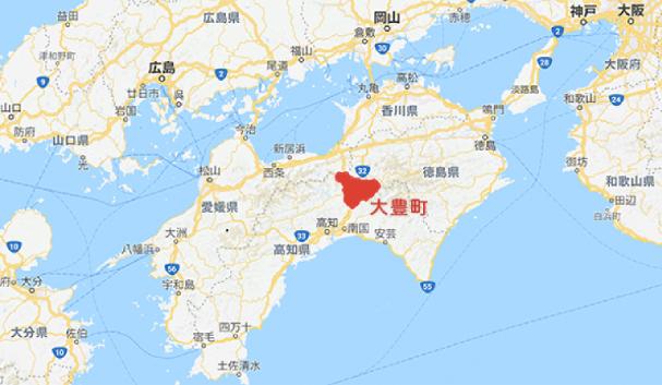 四国における大豊町の位置